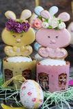 Easter cakes and gingerbread rabbits on wooden background. View Stock Photo