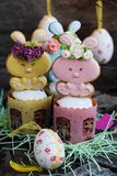 Easter cakes and gingerbread rabbits on wooden background. View Royalty Free Stock Image