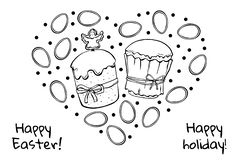 Easter cakes glaze with eggs vector illustration