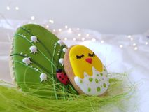 Easter cakes with lily of the valley and ladybug royalty free stock photo