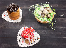 Easter Cakes and Nest Quail Eggs Royalty Free Stock Photo