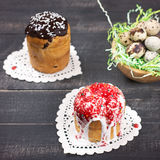 Easter Cakes and Nest with quail eggs Royalty Free Stock Images