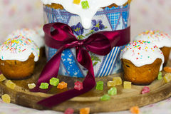 The Easter cakes with ribbon, with topping Stock Image