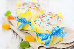 Easter cakes with ribbon Royalty Free Stock Photo