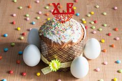 Easter cakes and white eggs Royalty Free Stock Photography