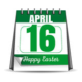 Easter calendar. Catholic Easter 2017. Desktop calendar with a festive date. April 16th. Vector illustration Royalty Free Stock Photography