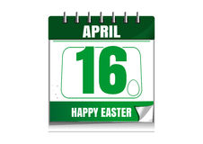 Easter calendar. Catholic Easter 2017. Wall calendar with a festive date. April 16th. Vector illustration Royalty Free Stock Images