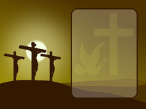 Easter - Calvary. The three crosses on the hill of Calvary. There's an empty space for a prayer or a concept. Useful also as Easter greeting card. You can find Stock Image