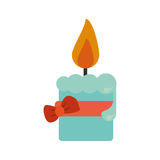 Easter candle flame with ribbon bow decoration Royalty Free Stock Image