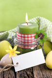 Easter candle, label Royalty Free Stock Photos
