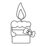 Easter candle with ribbon bow decoration thin line. Vector illustration eps 10 Stock Photo