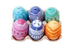 Easter candles. Easter egg-shaped candles with designs Royalty Free Stock Photos