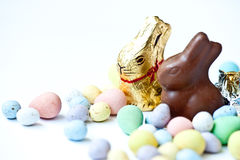 Easter candy. Candy easter eggs and bunnies royalty free stock photo