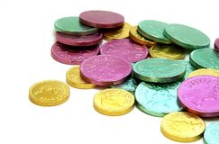 Easter Candy Coins. Colorful Easter candy coins royalty free stock photography