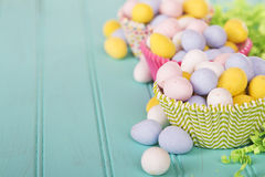 Easter Candy in colorful cupcake wrappers Royalty Free Stock Photography