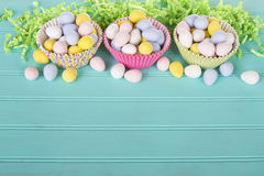 Easter Candy in colorful cupcake wrappers Royalty Free Stock Images