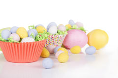 Easter Candy in colorful cupcake wrappers Stock Photography