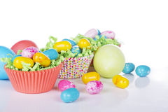 Easter Candy in colorful cupcake wrappers Royalty Free Stock Photos