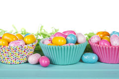 Easter Candy in cup cake wrappers Royalty Free Stock Photo