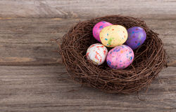 Easter Candy Eggs in a Nest Royalty Free Stock Photos