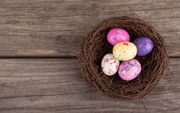 Easter Candy Eggs in a Nest Stock Photo