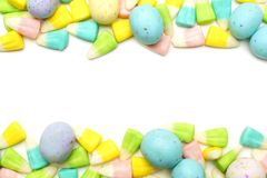 Easter candy frame over white Stock Images