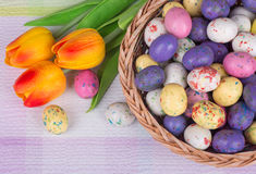 Easter Candy and Tulips Royalty Free Stock Images