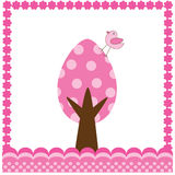 Easter card. With egg tree and bird Royalty Free Stock Photo