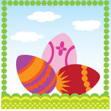 Easter card. With colored eggs Royalty Free Stock Images