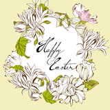 Easter card. Easter egg with floral elements Royalty Free Stock Photo