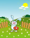 Easter card. Easter cartoon with bunny and egg Stock Photo
