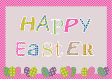 Easter card. With colorful letters and border with eggs. Eps available Royalty Free Stock Photo