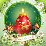 Easter card. With butterflies, candle and decorated egg Royalty Free Stock Images