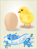 Easter card 2. Celebration card for Easter. Chicken and egg and decorative floral banner Royalty Free Stock Photography