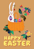 Easter card. Easter greeting card. Still life with a basket full of Easter eggs, rabbit and flower Royalty Free Stock Images
