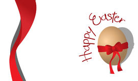 Easter Card. Happy Easter card - egg with a red ribbon Royalty Free Stock Photo