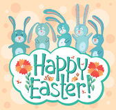 Easter card. Cute Easter card with banny and birds Royalty Free Stock Photo