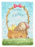 Easter card. Watercolor painted Easter card Stock Photos