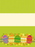 Easter card. Vector illustration of colored easter eggs over green background Stock Photography