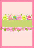 Easter card. Vector illustration of colored easter eggs with flowers Stock Images