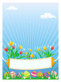 Easter card. Vector illustration of colored Easter eggs with tulips Stock Image