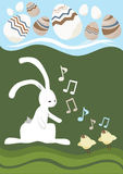 Easter Card. Wight Rabbit and Songbirds Vector Illustration