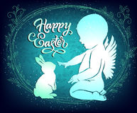 Easter card with angel and bunny stock illustration