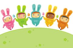 Easter card with Baby bunnies Royalty Free Stock Photos