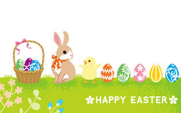 Easter Card - Baby Rabbit And Chick Royalty Free Stock Images