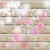 Easter Card Background Cherry Flowers Wood Stock Image