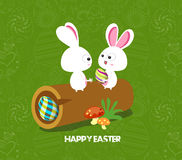 Easter card background - log with colored eggs and bunny Royalty Free Stock Image