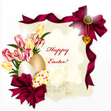 Easter card with banner, space for text, eggs, bows and flowers stock illustration