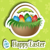 Easter card with basket and egg sticker Royalty Free Stock Photos
