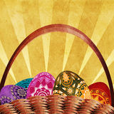Easter card with basket of eggs Stock Image